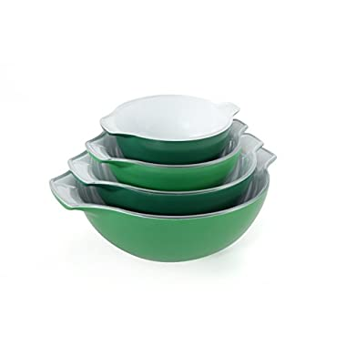 Creo SmartGlass Cookware, 4-Cookware, Piece Nesting Bowl Set, Oven Safe and for Serving, Bali Green