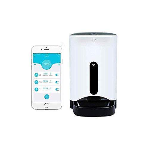 LKNJLL Perro automático del animal doméstico del gato y el alimentador, 6-Meal automático for mascotas alimentador con temporizador programable, la cámara de alta definición de voz y grabación de víde