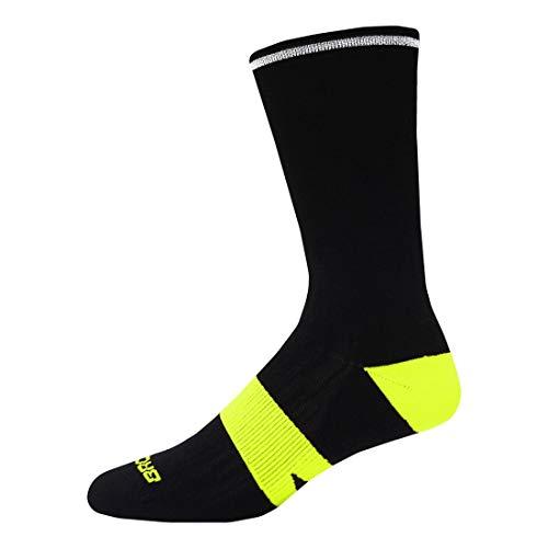 Brooks Nightlife Crew Socks 2 pack, Neon Black, S/M