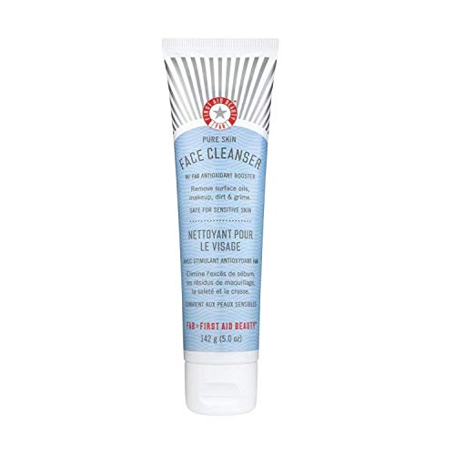 First Aid Beauty Pure Skin Face Cleanser, Sensitive Skin Cream Cleanser with Antioxidant Booster – 5 oz.