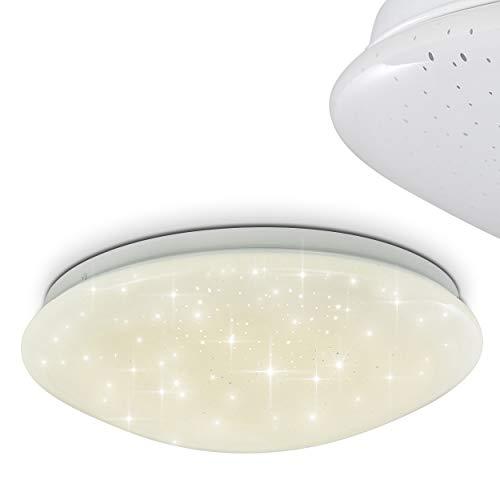 LED plafondlamp Norton STAR, ronde plafondlamp met glitter effect van metaal in wit, 12 Watt, 900 Lumen lichtkleur 4000 Kelvin, lamp met sterrenhemeloptiek, IP44, ook geschikt voor de badkamer
