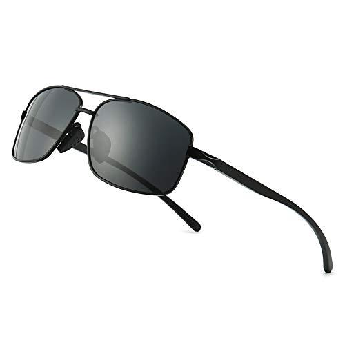 SUNGAIT Gafas de sol Hombre Polarizadas Clásico Retro Gafas de sol para Hombre metal Marco Negro/gris 2458