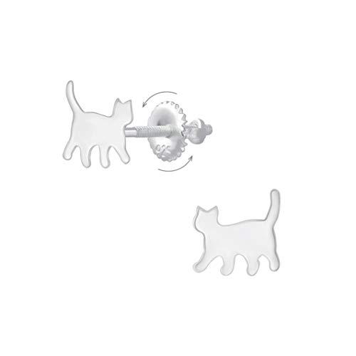 Laimons Pendientes infantiles de gato y gatito brillante de 7 mm con cierre de rosca de plata de ley 925