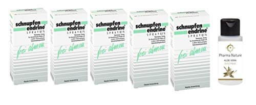 Schnupfen Endrine Nasenspray 0,1% | Sparset mit 5 x 10 ml inkl. Handcreme oder Duschbad von Pharma Nature | Abschwellendes Schnupfenspray für Erwachsene & Schulkinder