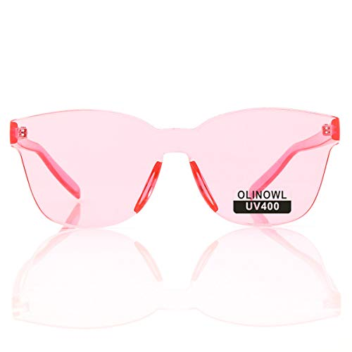 OLINOWL Oversized Square Rimless Sunglasses Tinted Unisex Women Men One Piece colored Transparent Eyewear Retro Eyeglasses, Pink
