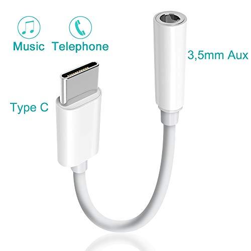 Semriver Type C auf 3.5mm Kopfhörer Adapter Aux Kabel USB C AudioAdapter Kopfhöreranschluss Kompatibel für Huawei, Pad Pro 2018,Sony,Moto Z,Xiaomiund Smartphones und Tablets mit Typ-C-Hafen -[Weiß]