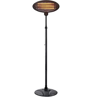 Patio Heater-1500W Outdoor Electric Heater, 3 Adjustable Power Level Outdoor Infrared Heater with Tip Over & Overheat Protection, Super Quiet Warm Vertical Electric Heater for Big Room Backyard