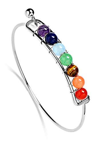 Charmante 7 Farben Chakra Armband Armreif mit Naturstein Rainbow