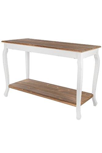 elbmöbel Konsole Sekretär weiß braun antik Landhaus Schublade beige Massiv Holz Tisch (120 x 50 x 80)