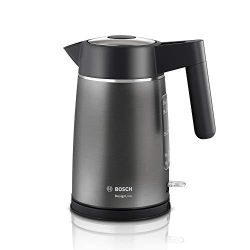 Bosch TWK5P480 DesignLine - Bollitore senza fili, con indicatore del livello dell acqua extra grande, protezione da surriscaldamento, 1,7 l, 2400 W, in acciaio INOX
