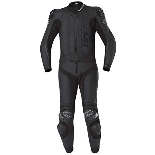 Held 2-teiliger Anzug YAGUSA aus Känguruleder und schwarzem Rindsleder, Sicherheitsnähte, Steißbeinschutz und SAS-TEC Rückenprotektor 60