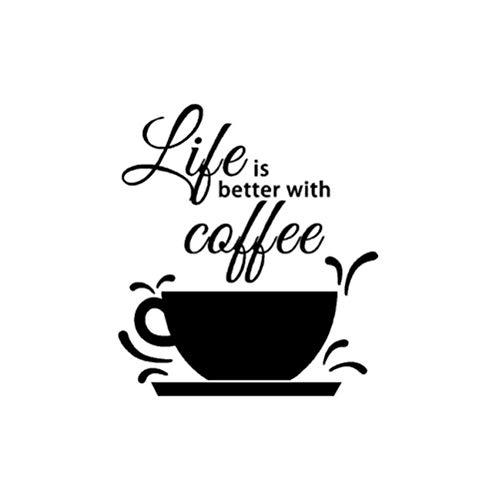 STPillow Wandaufkleber - PVC-Leben Schmeckt Besser Mit Kaffee Wandaufkleber Zitate Eine Tasse Kaffee Wandtattoos Vinyl Aufkleber Für Bibliothek