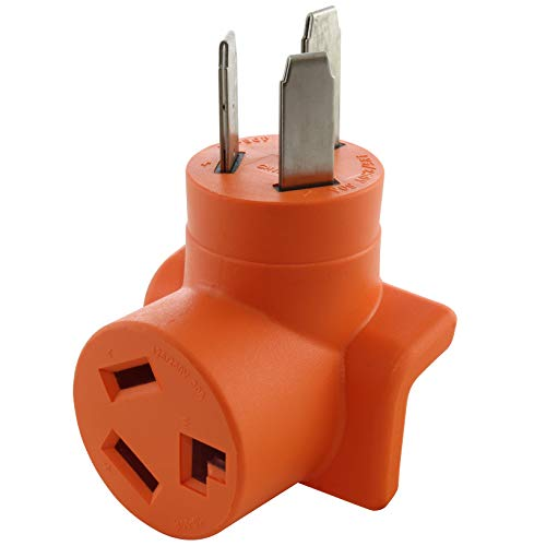 AC WORKS 10-50P 50-Amp 3-Prong Old Style Dryer/Range Plug to 10-30R 3-Prong Dryer Outlet (Compact)