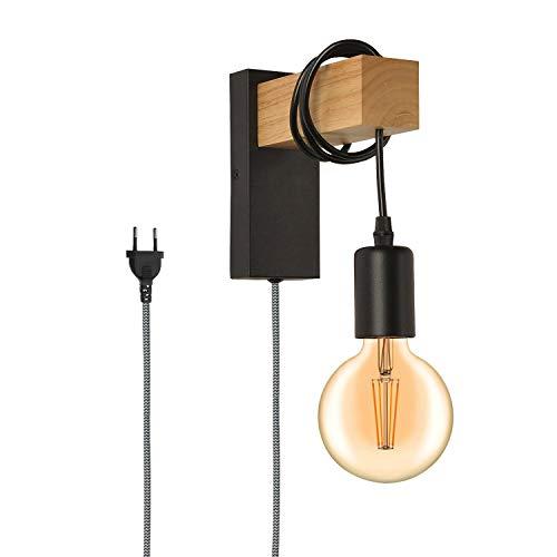 BarcelonaLED Aplique Pared con Cable Interruptor y Enchufe Lámpara Colgante de Madera Natural Portalámparas E27 Negro Vintage Retro Nórdico