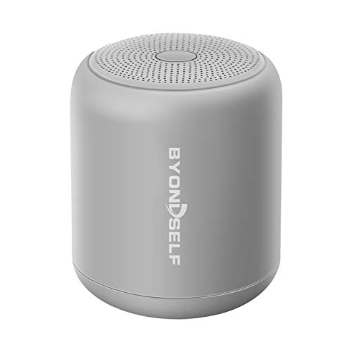 Byondself Altavoz Inalámbrico Portátil con Bluetooth,Impermeable Mini Altavoces Bluetooth (ipx 5),Sonido Estéreo TWS 360° HD,Apoya Radio FM,12 Horas de Llamada Manos Libres,Micrófono,32G TF Card,Gris