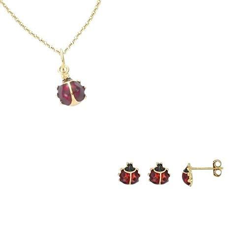 GF 750* - Juego de joyas de mariquita, color rojo y amarillo