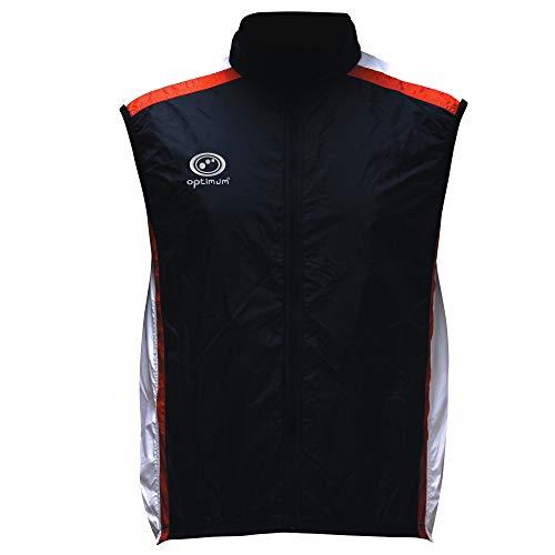 OPTIMUM Cycling - Chaleco de Ciclismo para Hombre, tamaño L, Color Negro/Blanco/Rojo