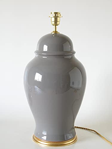 POLONIO Lampara de Ceramica Macro Hall de 52 cm Gris, E27, 60 W - Pie de Lámpara de Cerámica Sobremesa Gris Medio - Jarron de Ceramica Gris.