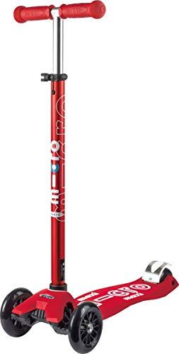 Micro® Maxi Deluxe, Diseño Original, Patinete 3 Ruedas, 5-12 Años, Peso 2,5kg, Carga hasta 70Kg, Altura 67-91cm, Rodamientos ABEC 9, Plataforma Antideslizante (Rojo, Única)