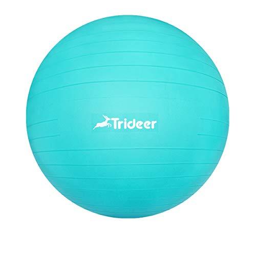 Trideer バランスボール45/55/65/75cm(11色) 厚い ヨガボール ピラティスボール 耐荷重500KG アンチバースト 滑り止め フットポンプ付き 筋トレストレッチ ヨガ 椅子 腰痛防止 関節保護 (ターコイズ, XL(68〜75 cm、