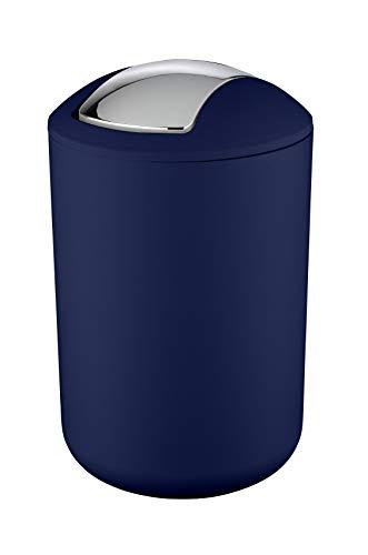WENKO Schwingdeckeleimer Brasil Dunkelblau L - Kosmetikeimer, absolut bruchsicher, Kunststoff (TPE), 19.5 x 31 x 19.5 cm, Dunkelblau