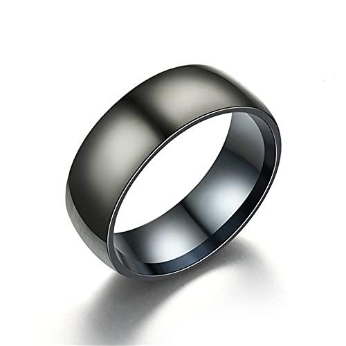 FQYYDD Anillos de hombre nuevo negro hombres anillo 100% car