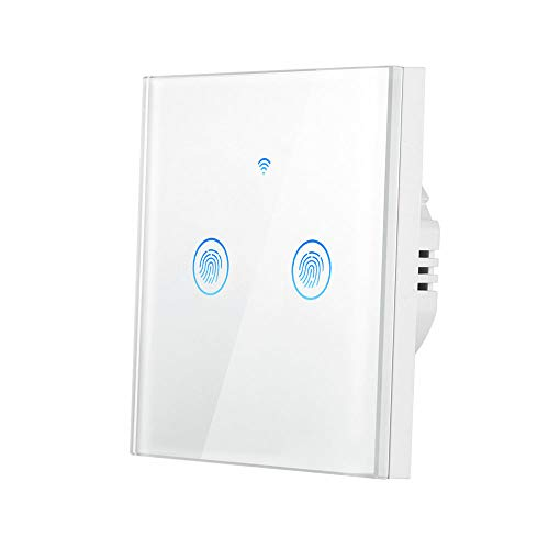 Interruptor WIFI 2 Gang, Konesky Interruptor de Pared Tactil,Smart Dimmer Switch con Control Remoto,Compatible con Amazon Alexa, Google Home,2200W (2 Gang)