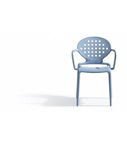 Scab Design Sedia con braccioli in tecnopolimero Rinforzato Colette Made in Italy - Set da 4 - Azzurro