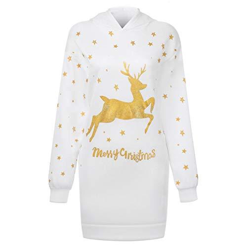 FOY Jersey de manga larga con capucha y bolsillo mediano estampado con elementos navideños, para mujer, color blanco, talla L
