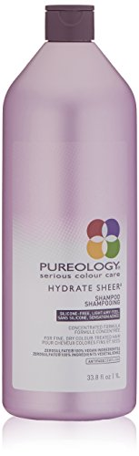 Pureology Hydrate Sheer Nourishing Shampoo | For Fine, Dry Color Treated Hair | Vegan | 33.8 oz.