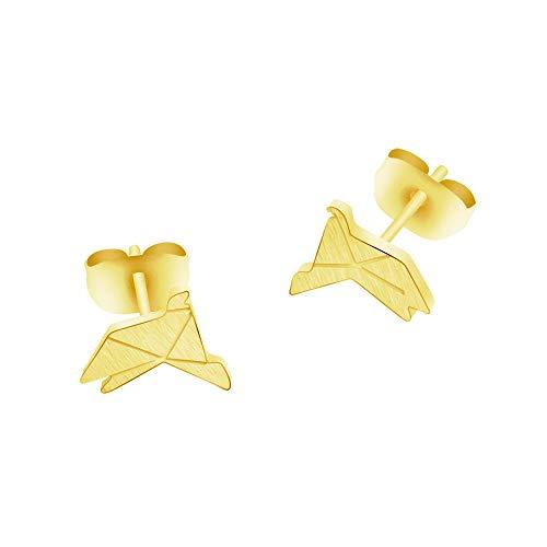 Pendientes de animales simples para niñas Pendientes de botón de pájaro de Origami de acero inoxidable para mujeres Oorbellen Joyería de moda Bijoux Femme-Gold-color_China