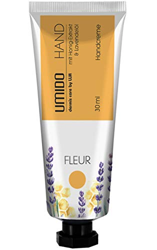 1x UMIDO Hand-Creme 30 ml Honig-Extrakt & Lavendelöl | ohne Parabene | Creme | Pflegecreme | Handlotion | Hautpflege | Handcreme mini