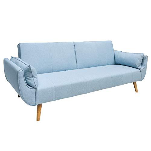 Riess Ambiente Skandinavisches Design Schlafsofa DIVANI 215cm hellblau Bettfunktion Scandinavian Design Strukturstoff Schlafcouch Schlaffunktion Couch Sofa