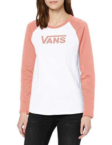 Vans Damen Flying V LS Raglan T-Shirt, Weiß-Rose Dawn, XS