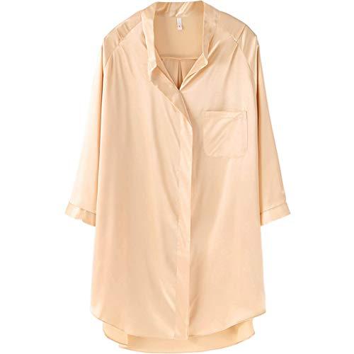 Home Service Frauen Einfache Europäischen Stil Pyjamas Nachthemd Frauen Sommer Ice Silk Sexy Hemd-Stil Nachthemd Lose Sommer Seidenkleid (Farbe : Beige, größe : F)