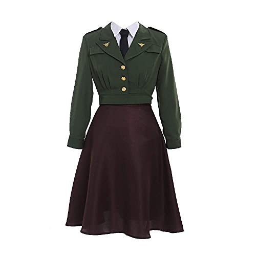 Fortunehouse Traje de uniforme de oficial para mujer Peggy Carter vestido de cosplay (XL)