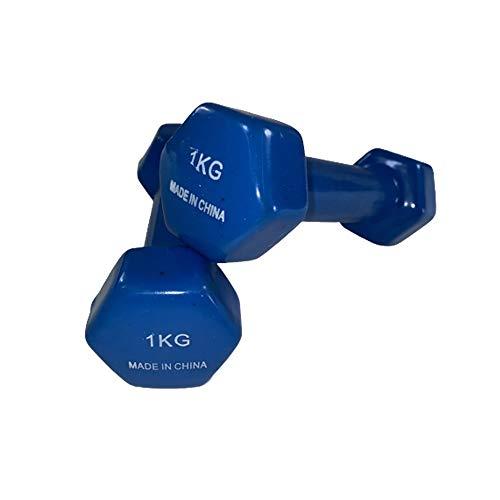 Natural Logistics Par de Mancuernas de Vinilo Fitness. 1 a 6 KG Unidad. Kottao (Azul, 2Kg)