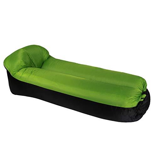 UN-BRAND Snabba trädgårdssoffor uppblåsbar lat väska luftsoffa camping bärbar luft banan soffa strand säng luft nylon soffa Laybag grön
