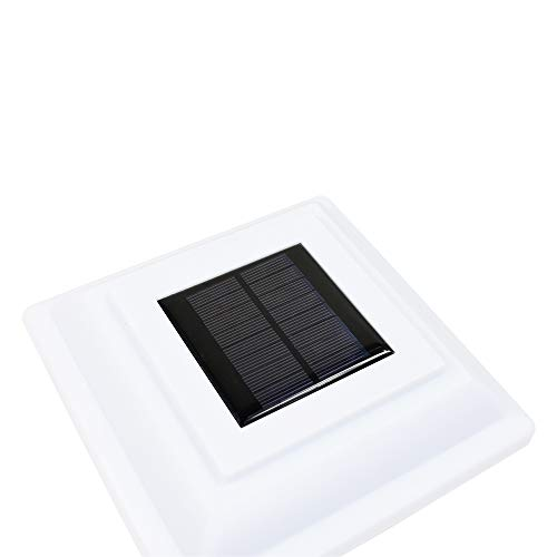 8 Pack White Outdoor Garden 5 x 5 Solar 12 SMD LED Post Deck Cap Square Fence Light Landscape Lamp Lawn PVC Vinyl