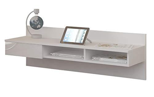 BIM Furniture schrijftafel 121 cm tafel plank wandplank computertafel laptop - tafel 4 kleuren Wit mat/wit hoogglans.