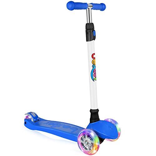 BELEEV Kinderscooter Dreirad für Kinder Kleinkinder Mädchen und Jungen, kinderroller von 3 bis 12 Jahren, 3 LED Räder Roller Scooter mit 4 Höhenverstellbare und Verstellbare Lenker(Blau)