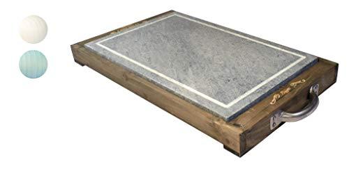 Bisetti Pierre de cuisson rectangulaire 25 x 40 cm avec planche en bois de sapin – Vintage, blanc, taille unique