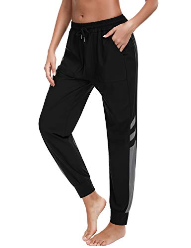 Sykooria Pantalones Deportivos para Mujer Pantalón de Chándal Largos de Secado Rápido con Bolsillo Fitness Yoga Jogging Correr Gimnasio