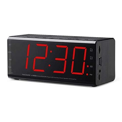 ZouYongKang Radio de Reloj de Alarma Digital pequeño - Radio FM, Volumen Ajustable, Temperatura, Puerto USB Doual Alarma y Snooze Radio FM Digital más Grande para el Cargador de teléfono DC Powered
