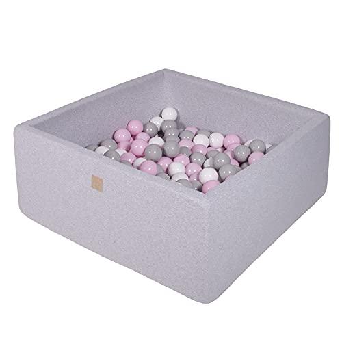 MEOWBABY Bällebad 90X90X40cm/200 Bälle ∅ 7Cm Baby Spielbad Mit Bällen Quadratisch Spielbälle Bällebad Spielzeug für Kinder Made In EU Hellgrau: Pastellrosa/Grau/Weiß