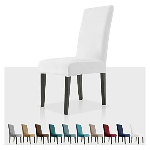 MAXIJIN Stretch Samt Stuhlbezüge für Esszimmerstühle Abnehmbare Velours Esszimmerstuhlbezüge Plüsch Stuhlbezüge für Esszimmer, Hotel, Küche, Zeremonie (Weiß, 2)