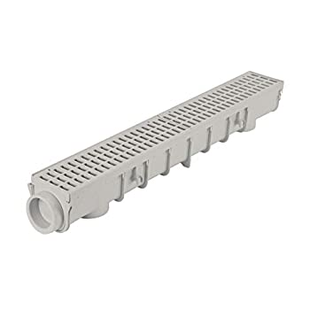NDS Pro Series Drain Kit 5-1/2 in X 39-3/8 in Deep Profile Channel Gray Plastic Grates End Caps/Outlet 5
