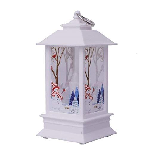 Hffan Weihnachtsdeko,Iwähle Kleine Öllampe LED Laterne mit,Tragbare Simuliert Kerzen Flammelos mit Elch im Blaue Background, Weihnachten Atmosphäre Beleuchtung Dekoration, für Hochzeit, Party