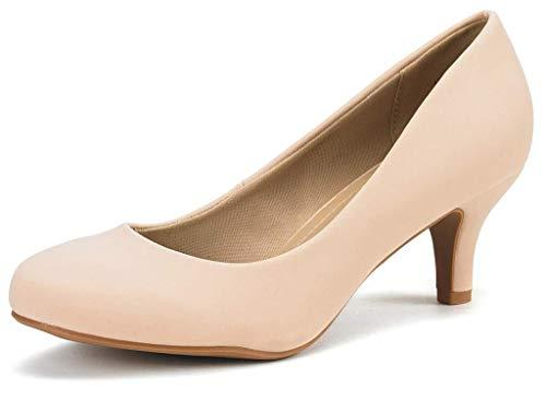 DREAM PAIRS Women's Luvly Nude Nubuck Bridal Wedding Low Heel Pump Shoes - 8 M US