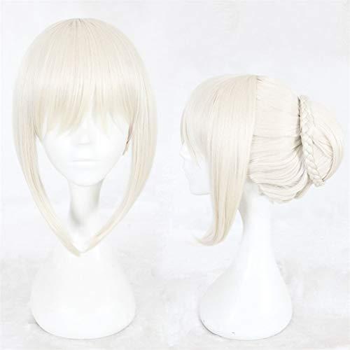 FunHouse Mädchen Pale Blonde Halloween Cosplay Anime Perücke mit Hochsteckfrisur Haarknoten